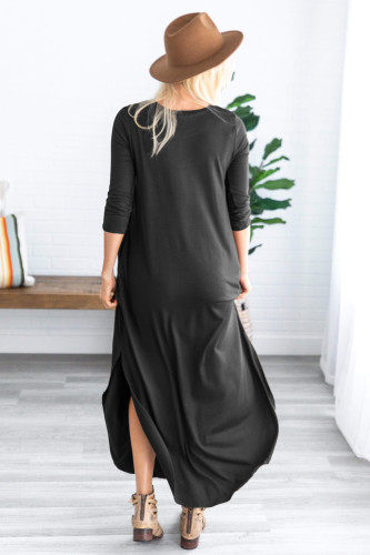 Black Pocketed Cotton Dress with Slit LC611579
