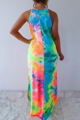 Multicolor Tie-dye Sleeveless Maxi Dress with Pockets LC611672