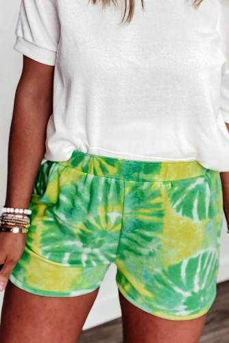 Green Tie-dye Terry Shorts