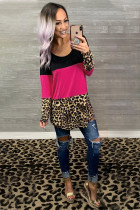 Rose Colorblock Leopard Triple Patchwork Long Sleeve Top