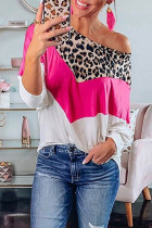 Leopard Rose White Splicing Blouse