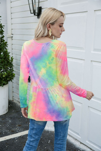 Multi-colored Tie Dye Long Sleeve Loose T-shirt XC994529