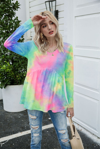 Multi-colored Tie Dye Long Sleeve Loose T-shirt