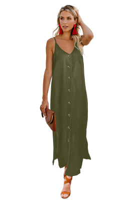 Green Button Slip Long Dress