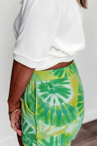 Green Tie-dye Terry Shorts LC77374