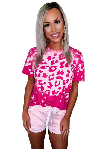 Hot Pink Bleached Leopard Tee LC2521232