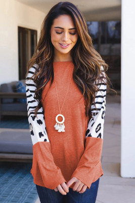 Orange Striped Animal Print Colorblock Long Sleeve Top