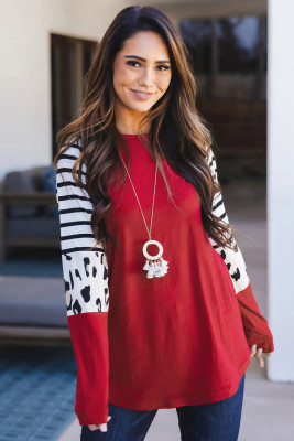 Red Striped Animal Print Colorblock Long Sleeve Top