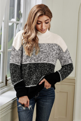Black Colorblock Knit Pullover Sweater