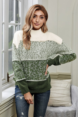 Green Colorblock Knit Pullover Sweater
