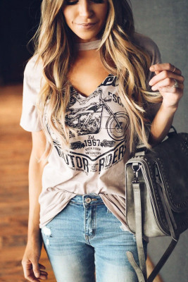 Pink Funny Motorcycle Printed Halter V-Neck Short Sleeve Graphic Tee