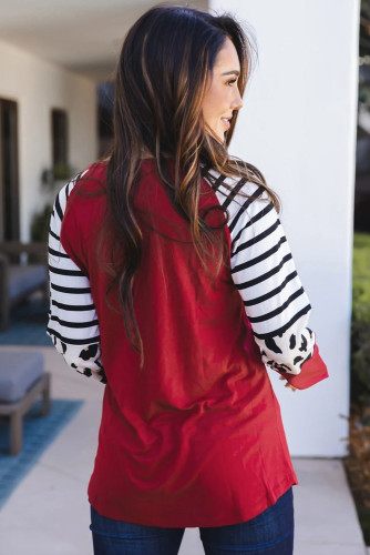 Red Striped Animal Print Colorblock Long Sleeve Top LC2511095