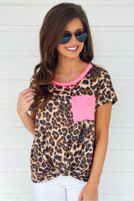 Neon Pink Leopard T-shirt with Pocket