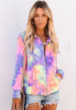 Tie Dye Ombre Colorblock Coat with Hoodies