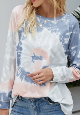 Dusty Blue Tie Dye Printed Sweatshirt