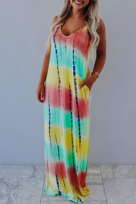Yellow Tie-dye Print V Neck Spaghetti Straps Maxi Dress