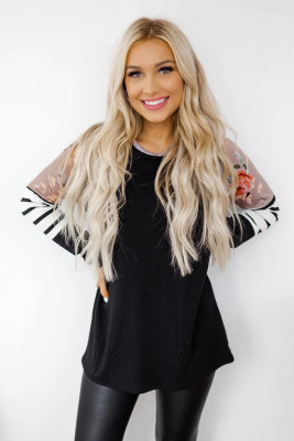 Black Striped Floral Long Sleeve Top