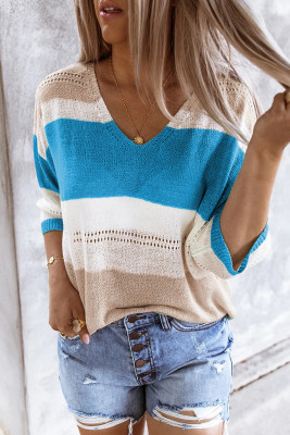 Sky Blue Long Sleeve Loose Casual Knit Top