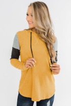 Yellow Color Block Patchwork Long Sleeve Hoodie