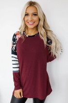 Red Striped Floral Long Sleeve Top