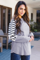 Gray Striped Animal Print Colorblock Long Sleeve Top