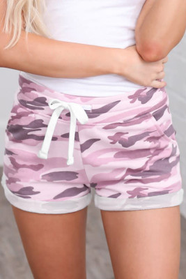 Pink Camo Print Cotton Casual Shorts