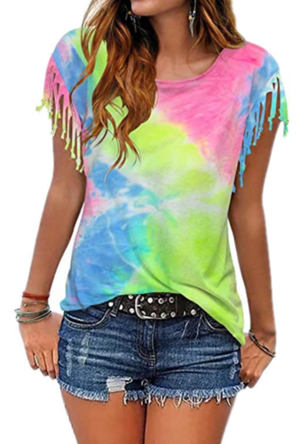 Tie Dye Plus Size Top with Tassel