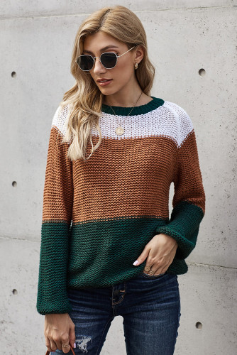 Green Colorblock Knit Sweater