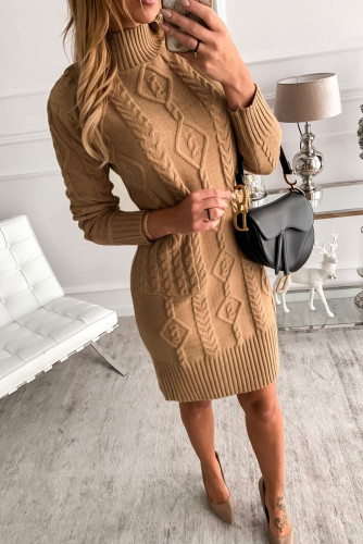 Brown High Neck Textured Bodycon Sweater Dress LC273001