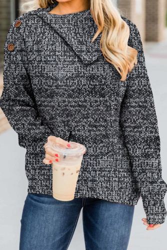 Gray Buttoned Cowl Neck Sweater