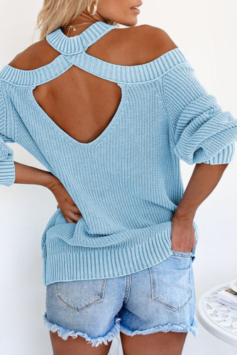 Sky Blue Cool Breeze Cotton Cold Shoulder Sweater LC272012