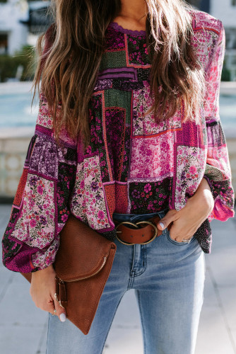 Rose Bohemian Floral Print Patchwork Top