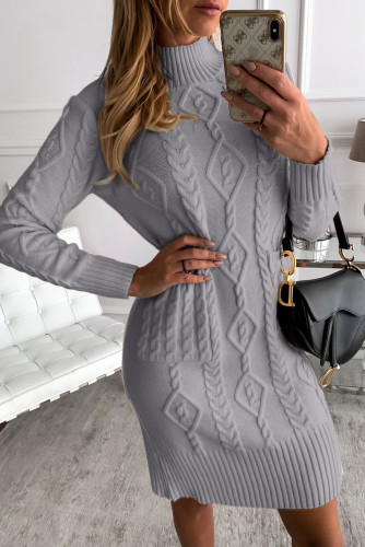 Gray High Neck Textured Bodycon Sweater Dress