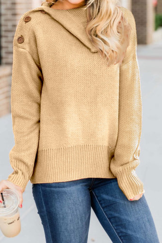 Apricot Buttoned Cowl Neck Sweater