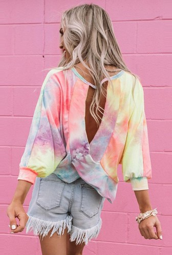 Tie Dye Ombre Colorblock Open Back Top
