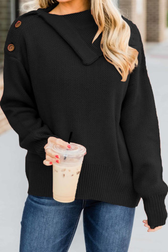 Black Buttoned Cowl Neck Sweater