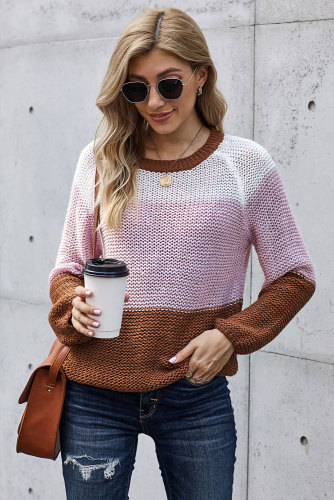 Brown Colorblock Knit Sweater