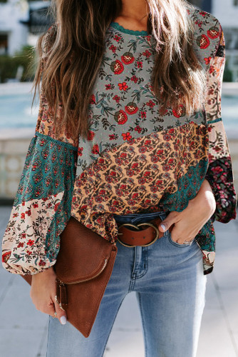Green Bohemian Floral Print Patchwork Top