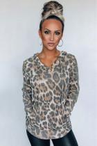 Leopard Print Kangroo Pocket Hoodie