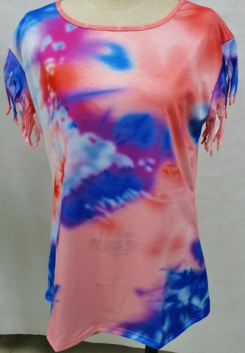 Tie Dye Plus Size Top with Tassel XC824