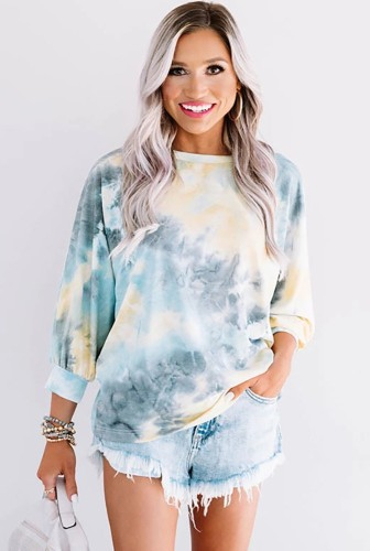 Tie Dye Ombre Colorblock Open Back Top XC821