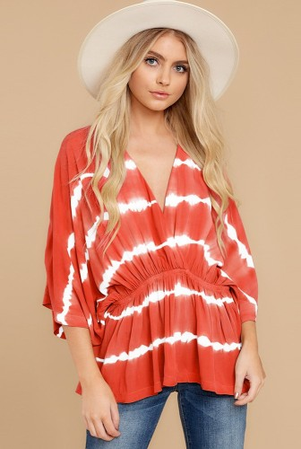 Batwing Sleeve Ruffled Wrap Top