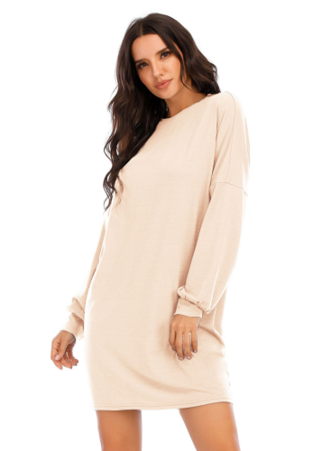 Solid Lantern Sleeve Loose Fit T Shirt Dress
