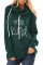 Green Letter Print Drawstring Hoodie
