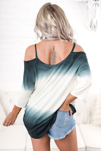 Ombre Tie Dye Cold Shoulder Blouse LC251162