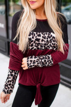 Long Sleeve Leopard Printed Color Block Pullover Blouse