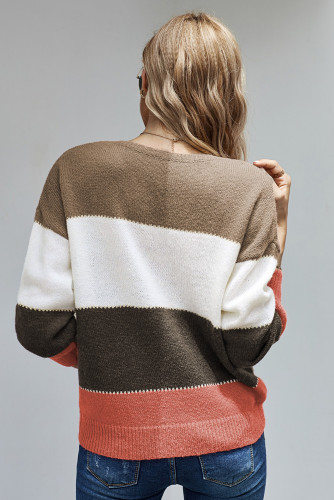 Brown Pullover Colorblock Winter Sweater LC272007