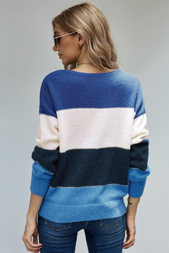 Blue Pullover Colorblock Winter Sweater LC272007