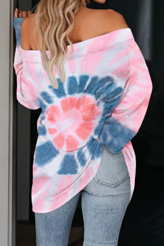 Pink Off The Shoulder Tie-dye Knit Top LC253754