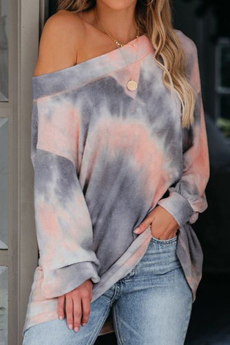Brown Off The Shoulder Tie-dye Knit Top